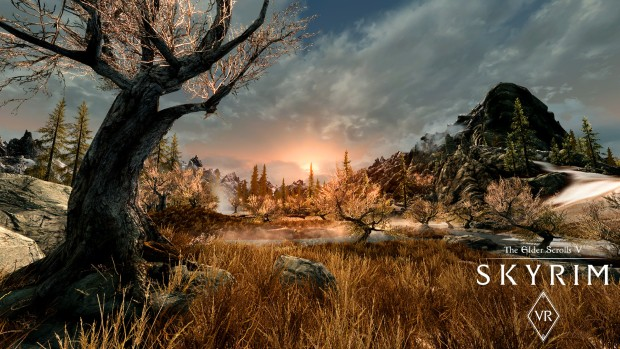 Skyrim VR screenshot of the lovely scenery from the PC version