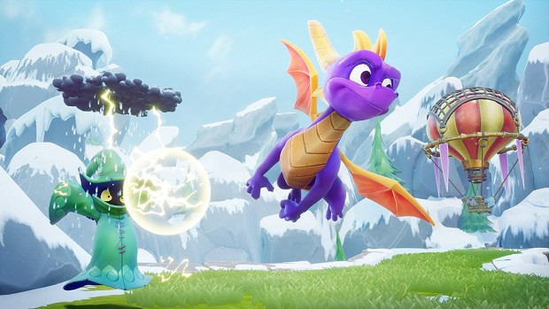 Spyro Reignited Trilogy screenshot of Spyro flying around enemies