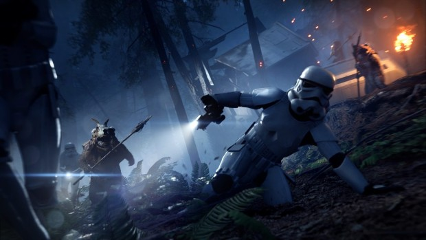 Star Wars Battlefront 2 Night on Endor update screenshot of an Ewok Hunt mode ambush