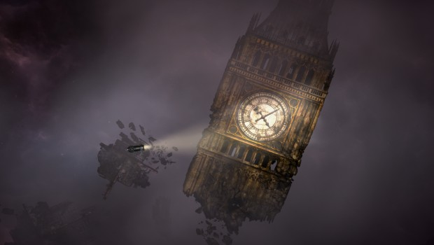 Sunless Skies screenshot of a ruined clocktower from Albion