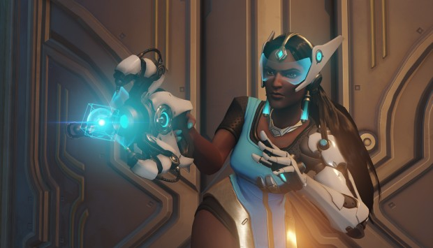 Symmetra from Overwatch using her alternate (orb) weapon attack