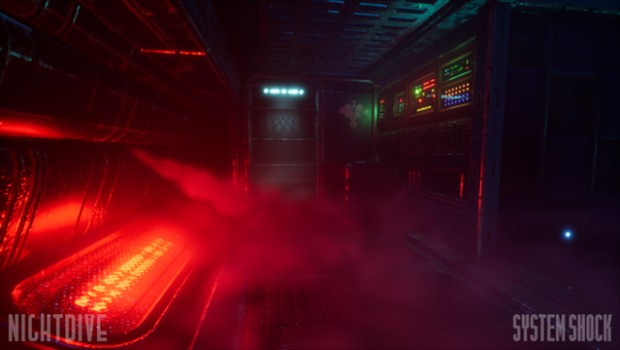 System Shock remaster screenshot of a red and highly atmospheric room