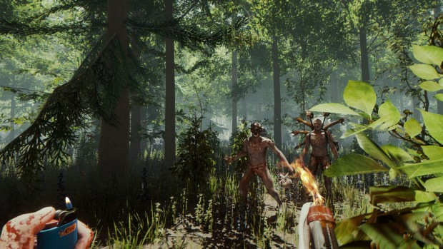 The Forest screenshot of some cannibals attacking the player