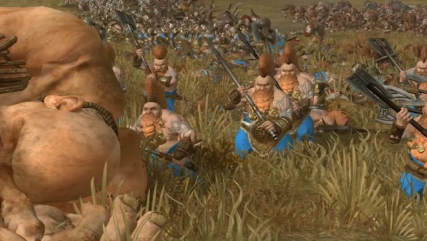 Total War: Warhammer 2 screenshot of the Giant Slayer Dwarfs unit in action