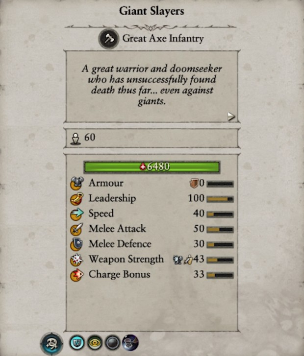 Total War: Warhammer 2 screenshot of the Giant Slayer unit stats