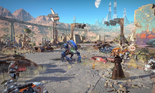 Age of Wonders: Planetfall screenshot of an alien fighting various humans