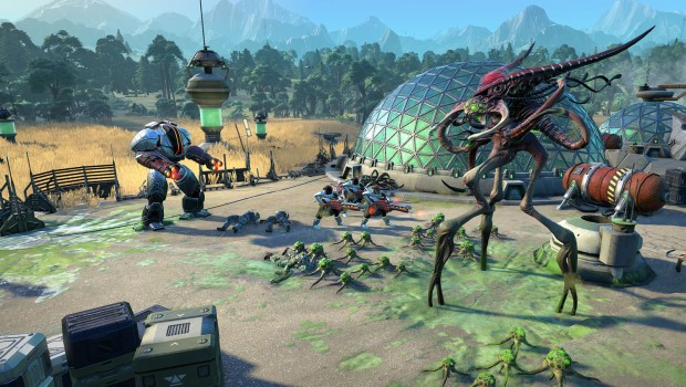 Age of Wonders: Planetfall screenshot of a battle against aliens