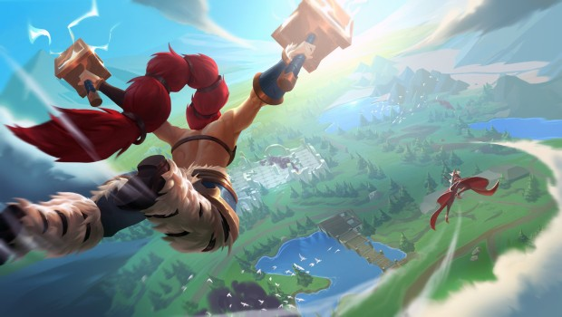 Battlerite official artwork showing Freya jumping into the new Battle Royale map