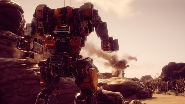 Battletech screenshot of a mech firing missiles