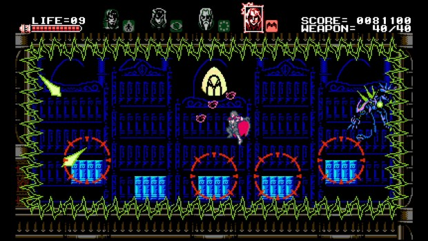 Bloodstained: Curse of the Night screenshot of a boss fight with electrified floors