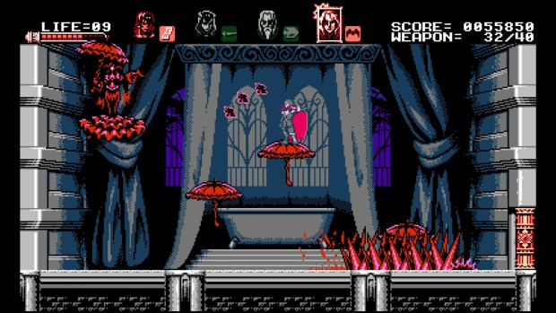 Bloodstained: Curse of the Moon screenshot of a boss that uses red parasols