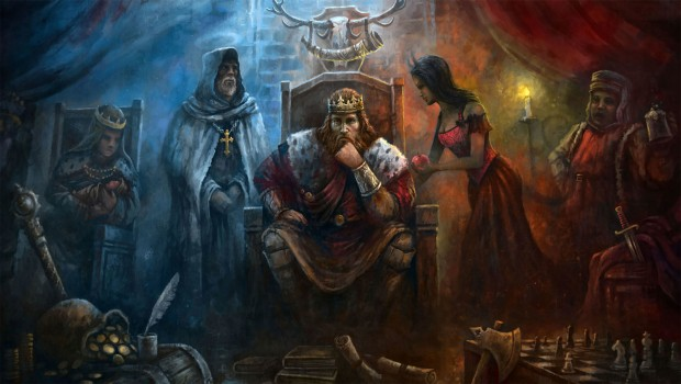 Crusader Kings 2 artwork showing the king on his throne surrounded by advisors