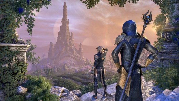 The Elder Scrolls Online: Summerset screenshot of the Psijic Order looking at a castle in the distance