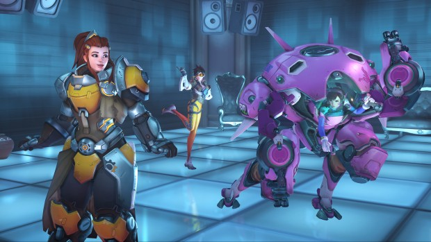 Overwatch screenshot of D.Va, Brigitte and Tracer dancing