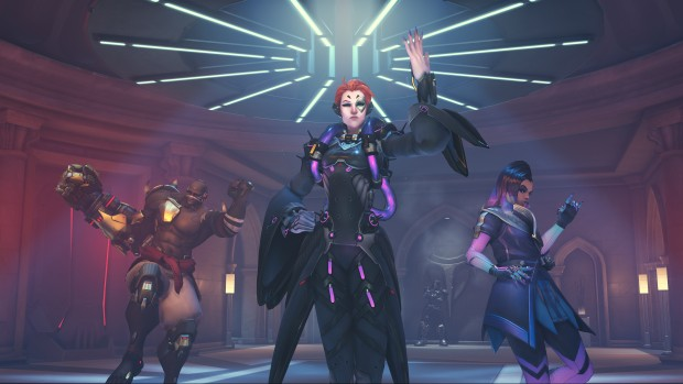 Overwatch Anniversary 2018 screenshot of Sombra, Moira and Doomfist dancing