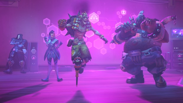 Overwatch Anniversary update screenshot of heroes dancing