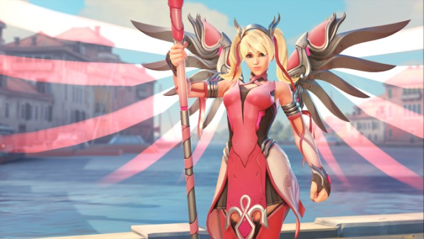 Overwatch screenshot of the Pink Mercy cosmetic