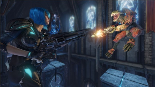Quake Champions screenshot of a close quarters duel between two characters