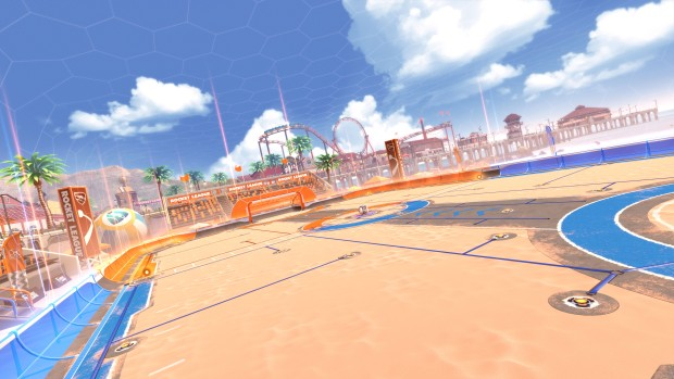 Rocket League screenshot of the upcoming Salty Shores Arena