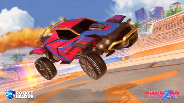 Rocket League screenshot of the Twinzer car