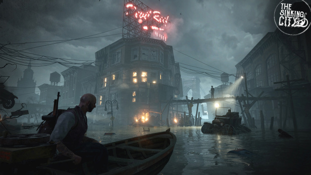 The Sinking City screenshot of the characters sailing through ruins