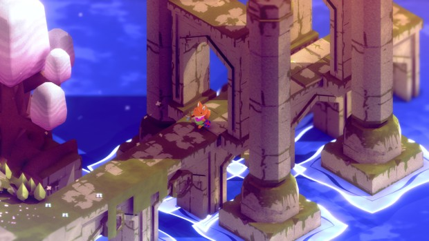 Screenshot of the game Tunic and its adorable little fox protagonist