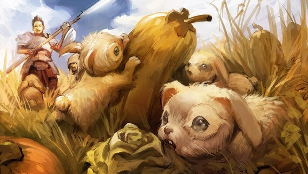 Scrolls (or Caller's Bane) artwork showing a bunch of bunnies