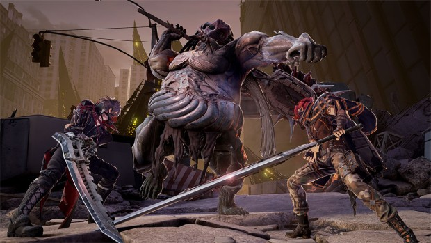 Code Vein screenshot of a battle against a fatty enemy