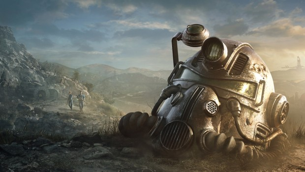 Fallout 76 official artwork showing a helmet and two characters
