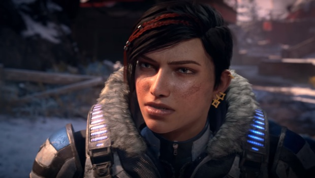 Close up screenshot of our protagonist from Gears of War 5