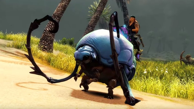 Guild Wars 2: Path of Fire screenshot of the new Roller Beetle mount