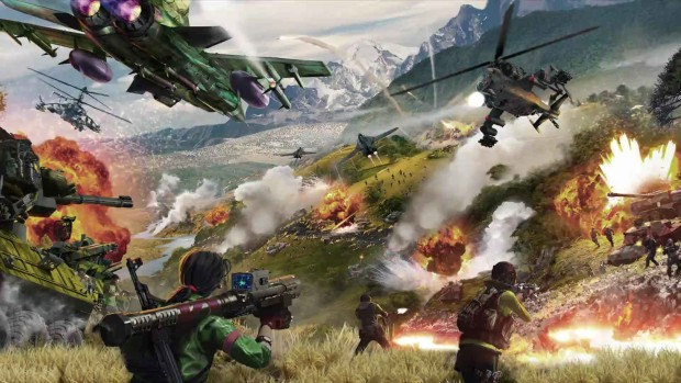 Just Cause 4 artwork filled with explosions to the brim