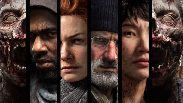 Artwork showing the four characters from Overkill's The Walking Dead alongside some zombies