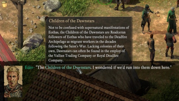 Pillars of Eternity 2 in-game encyclopedia explaining the various factions