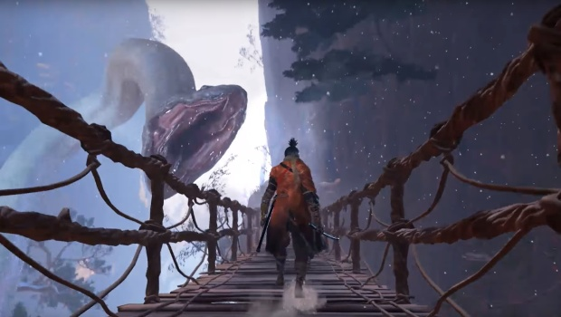 Sekiro: Shadows Die Twice screenshot of a snake attacking our character on a bridge