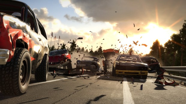 Wreckfest screenshot of multiple car crashes happening at once