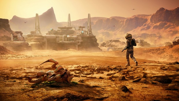 Far Cry 5: Lost on Mars DLC screenshot of our character and a dead alien