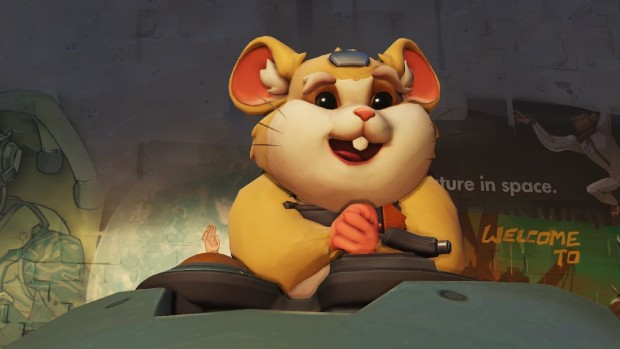 Overwatch screenshot of the hamster Hammond and his mech Wrecking Ball