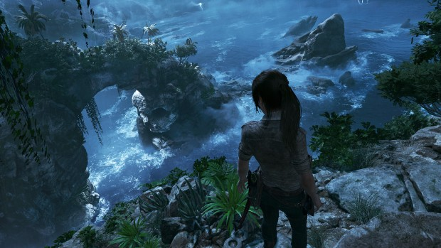 Shadow of the Tomb Raider screenshot of Lara near the cliffside