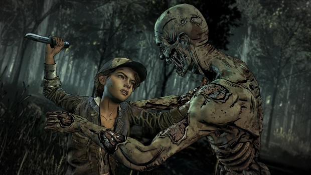 Telltale's The Walking Dead: The Final Season screenshot of Clementine fighting a zombie