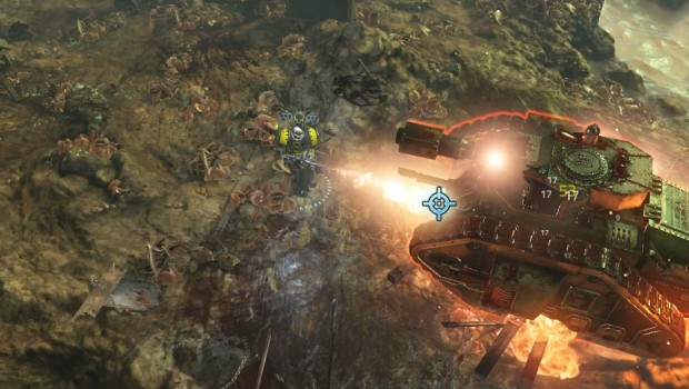Warhammer 40k: Inquisitor - Martyr screenshot of a Heavy Flamer being used against a boss