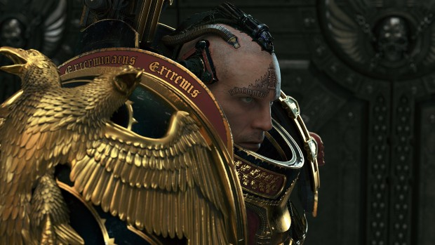 Close up screenshot of our main character from Warhammer 40k: Inquisitor - Martyr