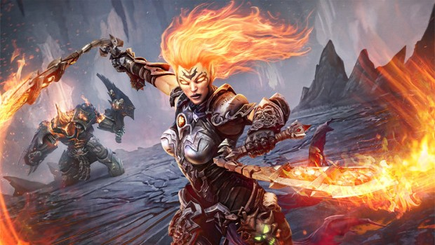 Darksiders 3 screenshot of Fury using her flaming whips