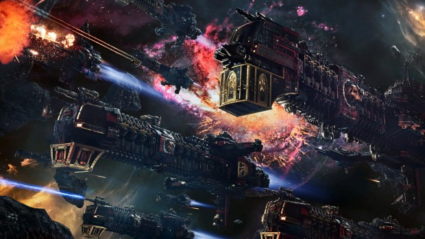 Battlefleet Gothic: Armada 2 screenshot of giant cathedral ships