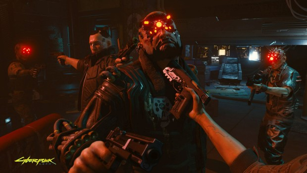 Cyberpunk 2077 screenshot of a Mexican standoff between various augmented characters