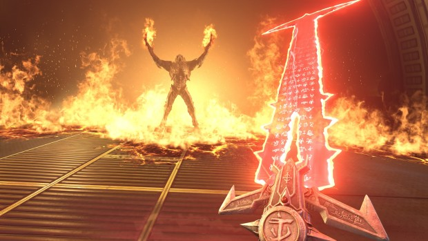 Doom Eternal screenshot of a giant, blazing sword