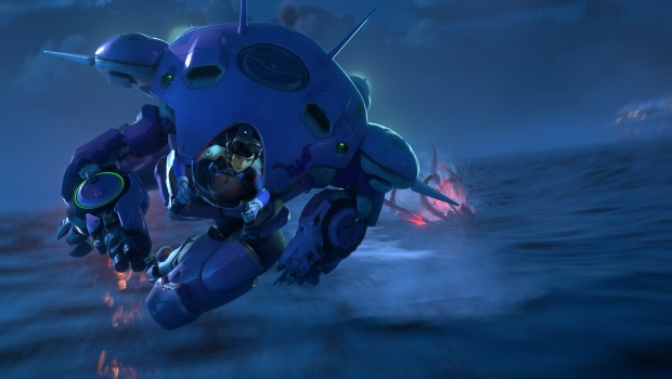 Overwatch screenshot of D.Va fighting Omnics from the latest cinematic trailer