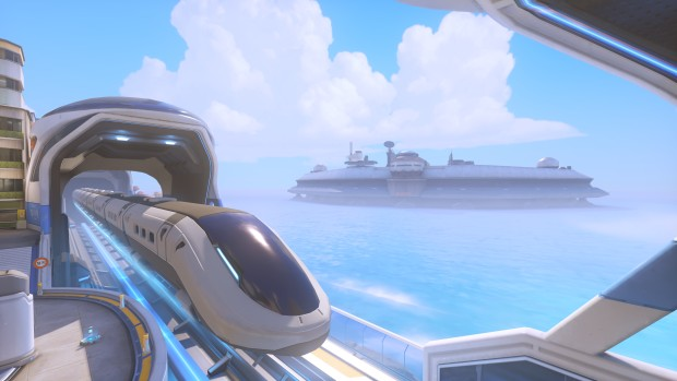 Overwatch screenshot of the new train and fortress from the Busan map