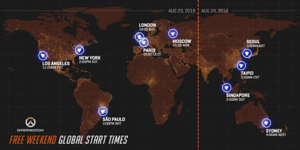 Starting times for the Overwatch free weekend on August 23rd