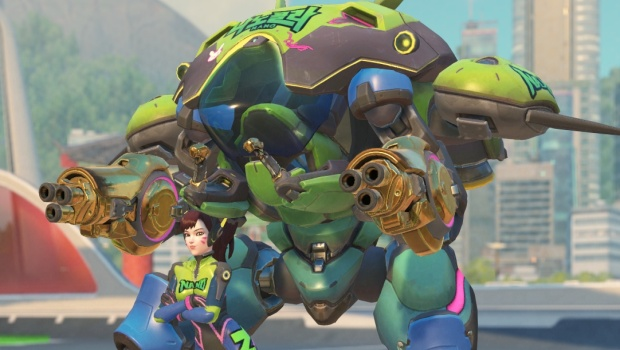 Overwatch in-game screenshot of D.Va's Nano Cola skin